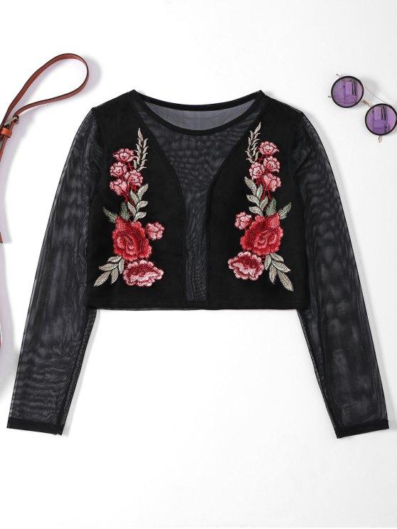 T-shirt en filt à manches longues et bordé à motif floral - Noir XL