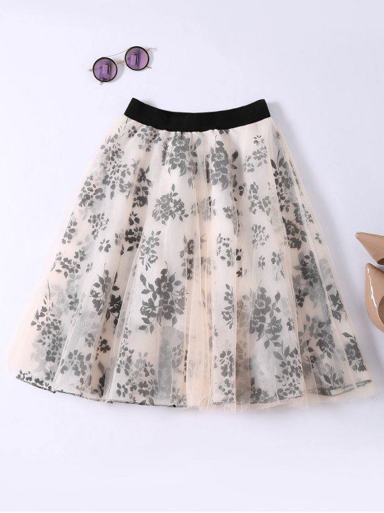 sale Layered Floral Tulle Skirt - APRICOT ONE SIZE