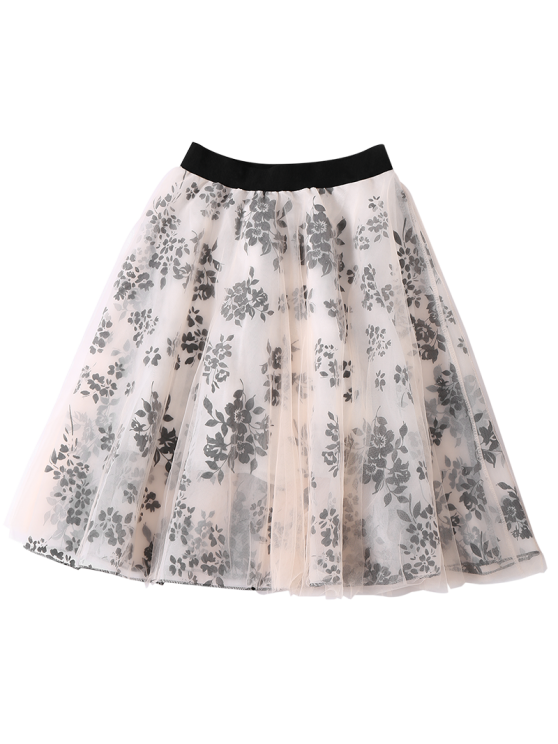 Layered Floral Tulle Skirt - APRICOT ONE SIZE Mobile