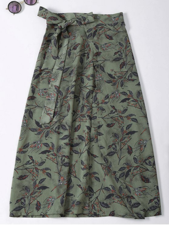 Flower Print High Slit Wrap Skirt - ARMY GREEN ONE SIZE Mobile