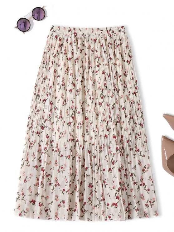 ladies Midi Tiny Floral Pleated Skirt - OFF-WHITE ONE SIZE