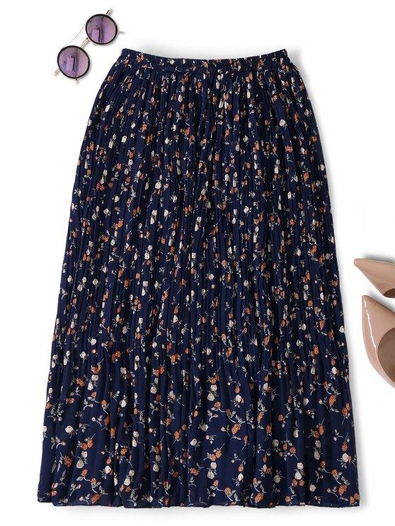 lady Midi Tiny Floral Pleated Skirt - PURPLISH BLUE ONE SIZE