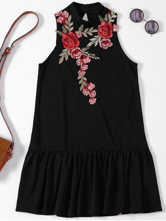 lady Rose Applique Backless Ruffle Hem Dress - BLACK XL