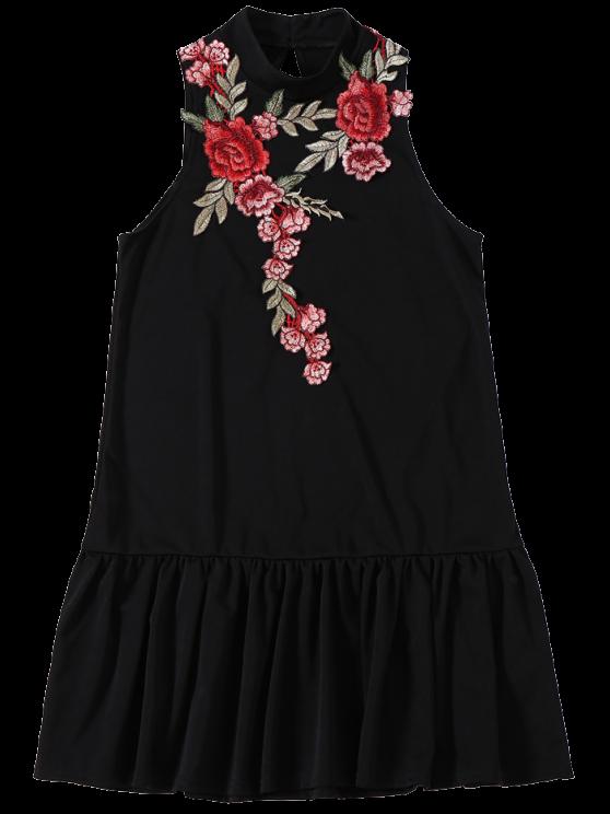 Rose Applique Backless Ruffle Hem Dress - BLACK XL Mobile