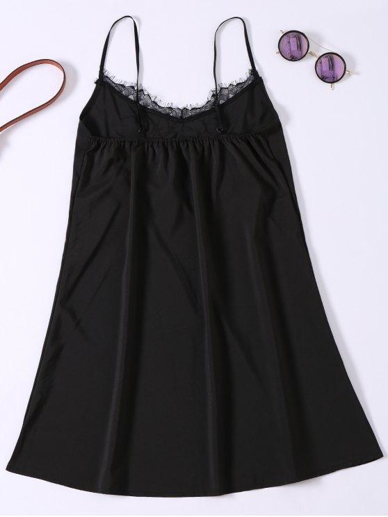 Slip Lace Embroidered Rose Applique Dress - BLACK S Mobile