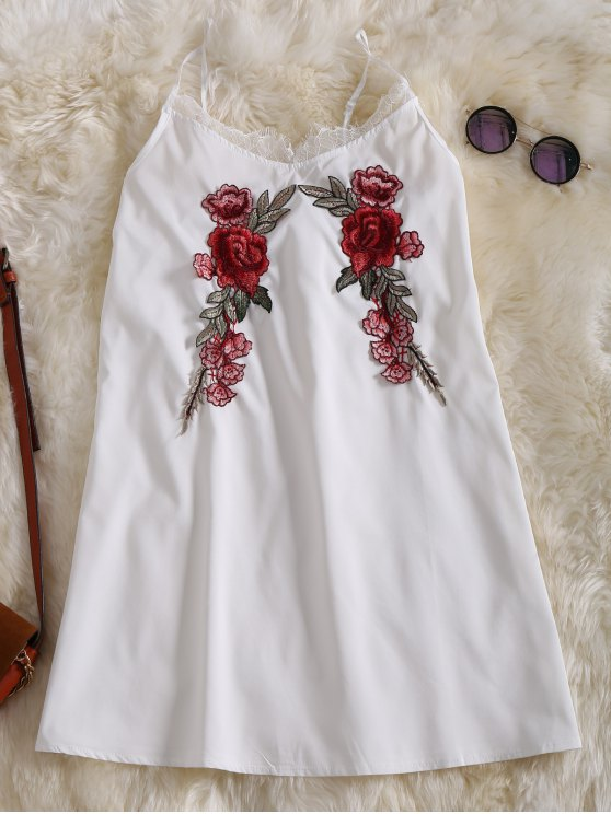 buy Slip Lace Embroidered Rose Applique Dress - WHITE XL