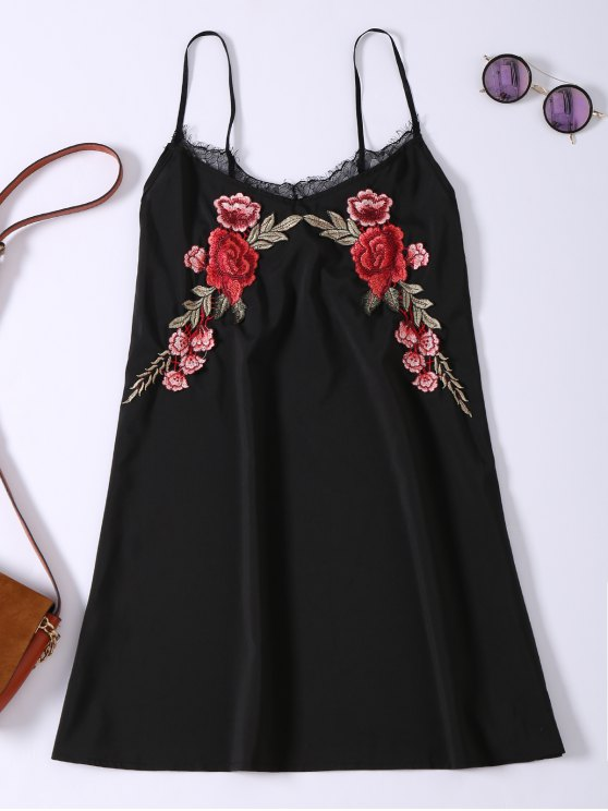 women's Slip Lace Embroidered Rose Applique Dress - BLACK L