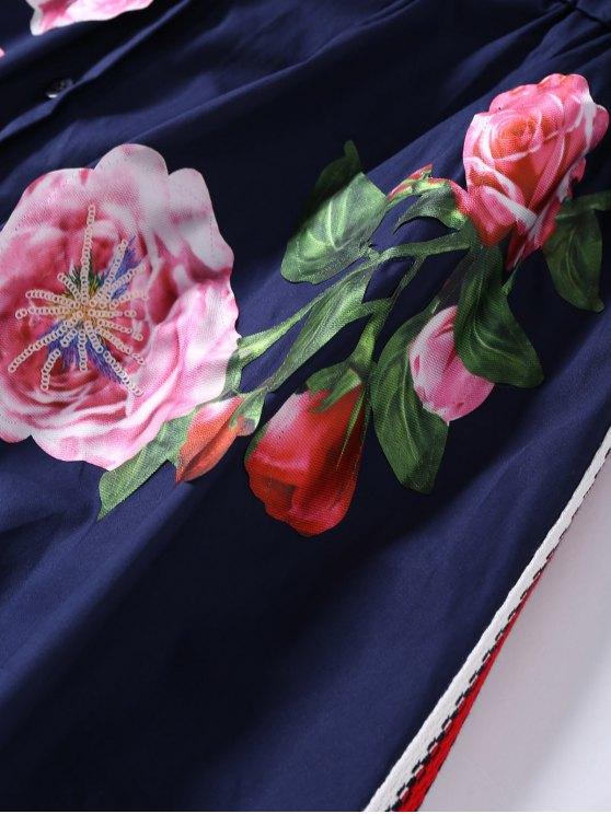Button Up Sequins Rose Shirt Dress - CADETBLUE M Mobile