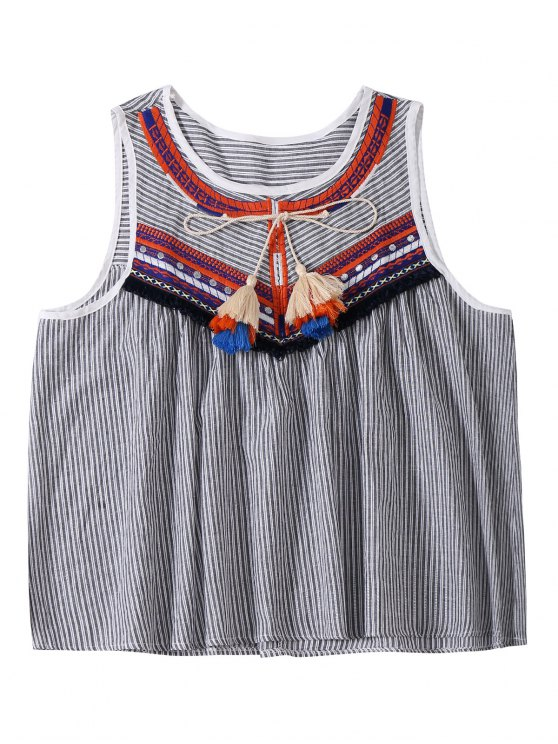 hot Embroidered Tassel Stripe Top - GRAY ONE SIZE