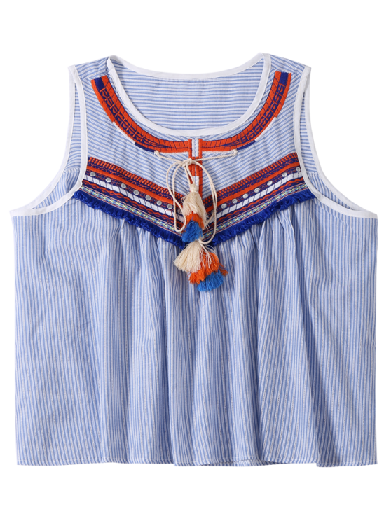 Embroidered Tassel Stripe Top - LIGHT BLUE ONE SIZE Mobile