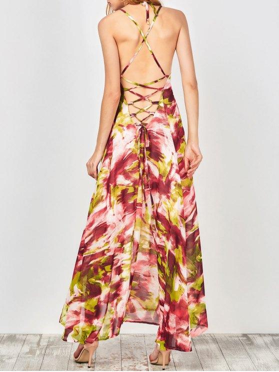 Imprimé Lace Up Summer Beach Robe en mousseline de soie - Multicolore M