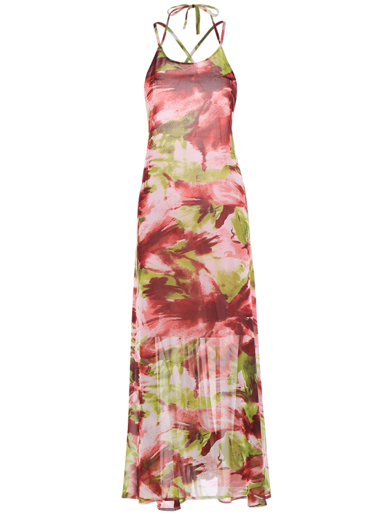 Printed Lace Up Beach Summer Chiffon Dress - COLORMIX XL Mobile