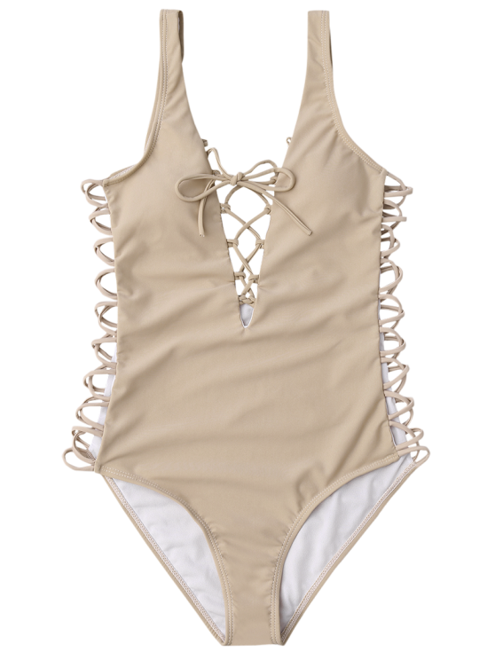 Lace Up Plunging Neck Swimsuit - COMPLEXION M Mobile