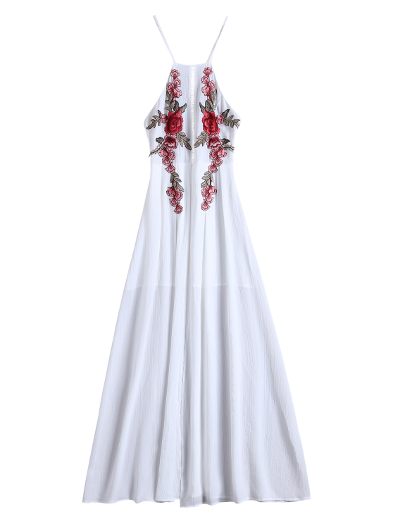 Floral Patches Maxi Beach Dress - WHITE S Mobile