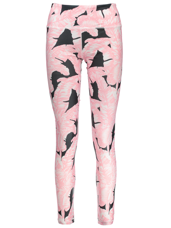Tropical Leaf Print Sports Leggings - PINK M Mobile