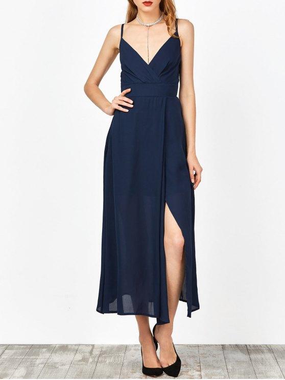 Slip raja del colmo de la zambullida del verano del vestido de cuello - Azul Purpúreo S