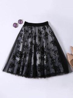 الطبقات الزهور تول تنورة - أسود