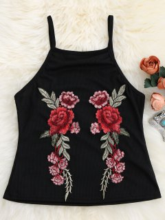 Floral Patch Ribbed Tank Top - Black S