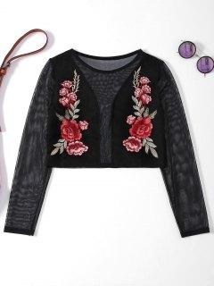 Sheer Mesh Floral Embroidered Crop Top - Black S