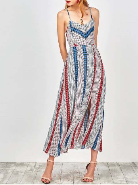 best Geometry Print Slip Lace Up Holiday Dress - COLORMIX S Mobile