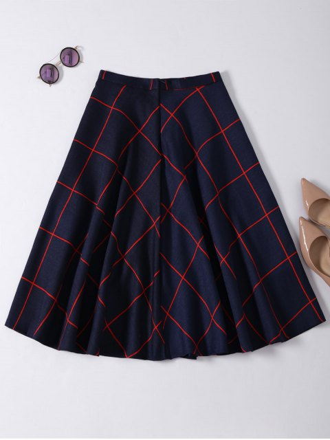 online A Line Midi Plaid Skirt - PURPLISH BLUE M Mobile
