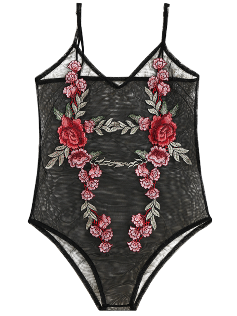 ladies Floral Patch Sheer Mesh Bodysuit - BLACK M Mobile