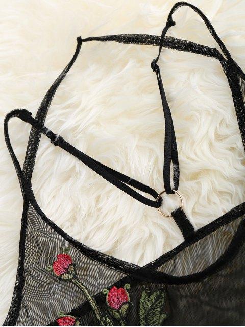online Sheer Mesh Floral Applique Bodysuit - BLACK L Mobile