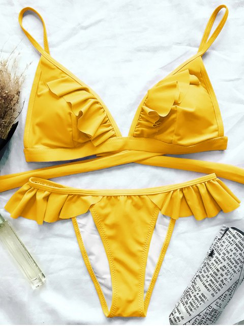 latest Cami Frilly High Leg Bikini - YELLOW M Mobile