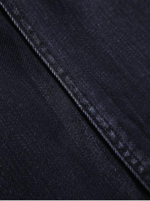 buy Asymmetric Frayed Hem Denim Skirt - BLACK S Mobile