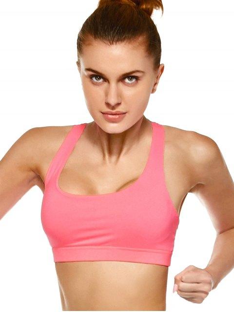 women's Strappy Crossover Sports Bra - PAPAYA M Mobile