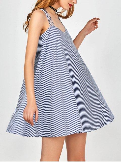 hot Multi Straps Striped Trapeze Dress - BLUE AND WHITE S Mobile