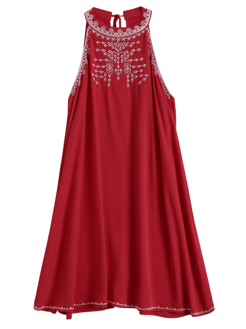 shop Embroidered Sleeveless Flowing Dress - RED M Mobile