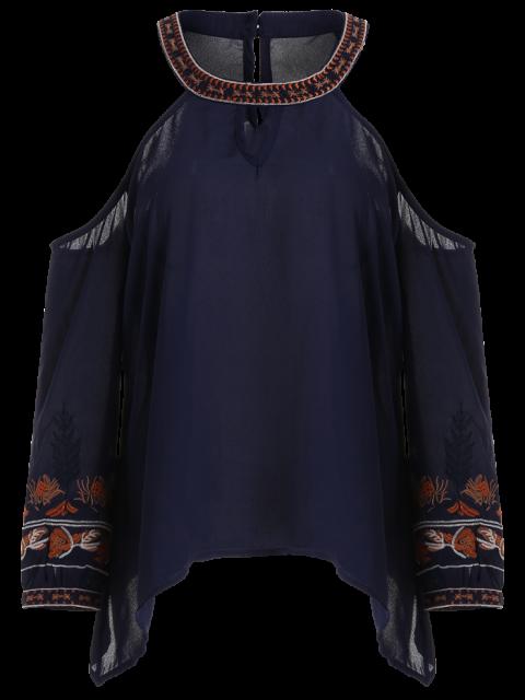 fashion Embroidered Cold Shoulder Blouse - PURPLISH BLUE S Mobile