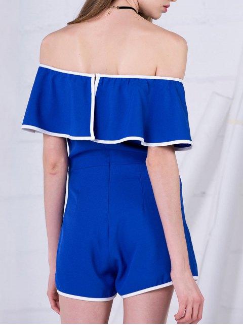 lady Off The Shoulder Ruffles Romper - BLUE S Mobile