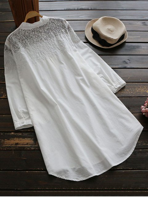 shops Irregular Lines Embroidered Tunic Top - WHITE ONE SIZE Mobile