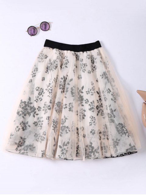 sale Layered Floral Tulle Skirt - APRICOT ONE SIZE Mobile