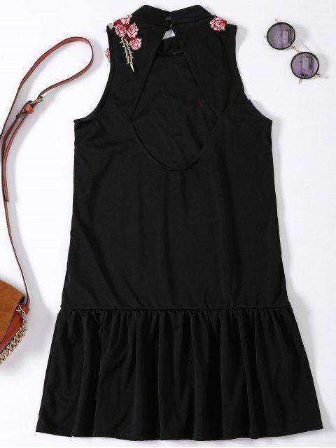 lady Rose Applique Backless Ruffle Hem Dress - BLACK XL Mobile