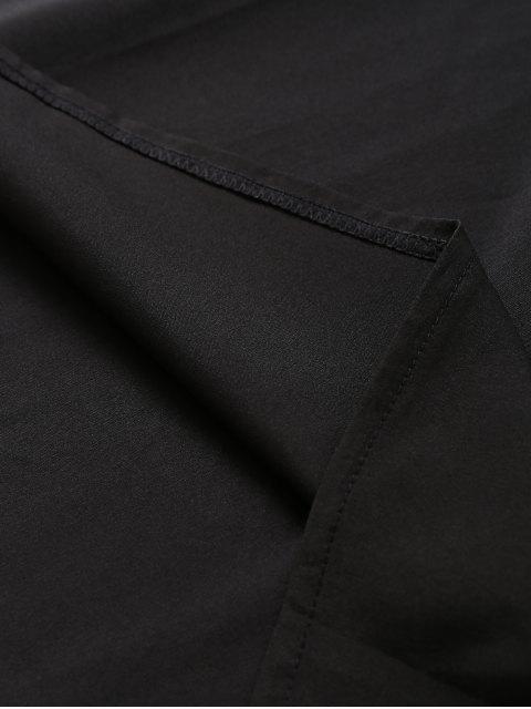 ladies Slip Lace Embroidered Rose Applique Dress - BLACK M Mobile