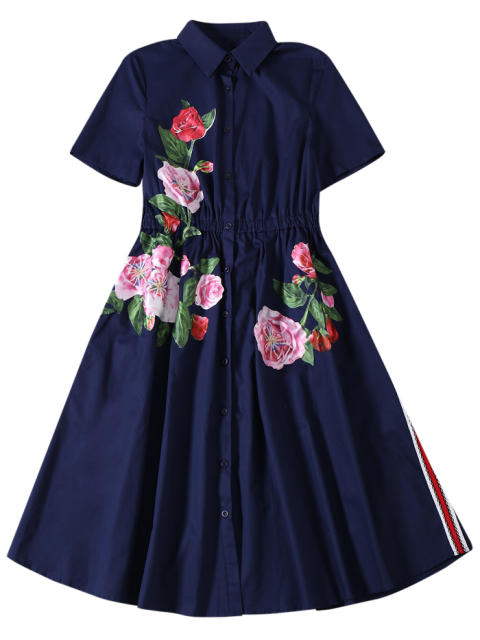 lady Button Up Sequins Rose Shirt Dress - CADETBLUE L Mobile