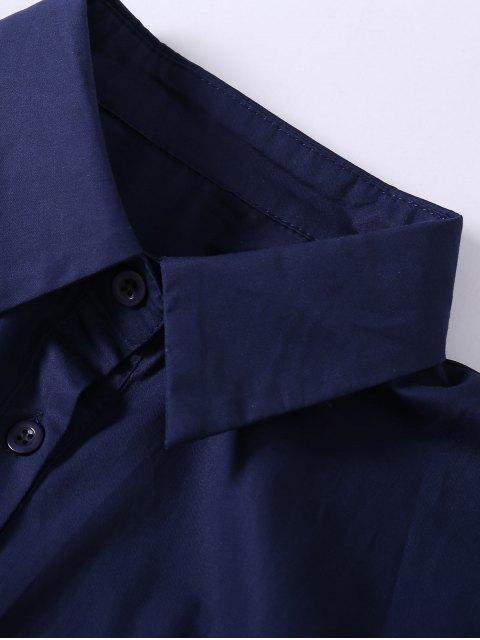 best Button Up Sequins Rose Shirt Dress - CADETBLUE M Mobile