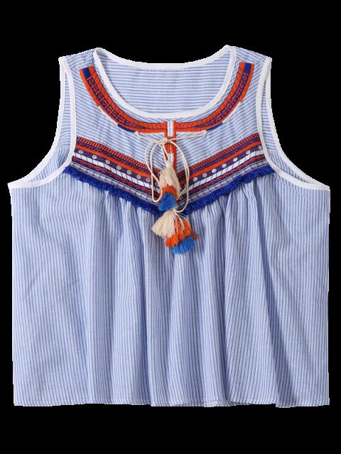 best Embroidered Tassel Stripe Top - LIGHT BLUE ONE SIZE Mobile