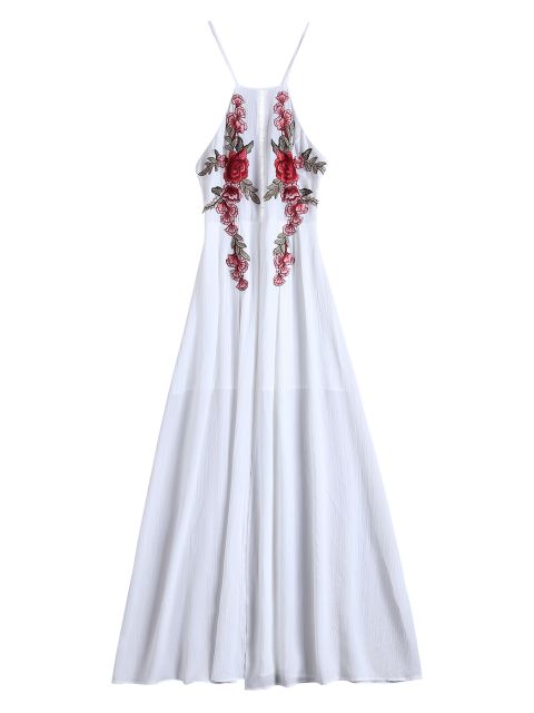 shop Floral Patches Maxi Beach Dress - WHITE S Mobile
