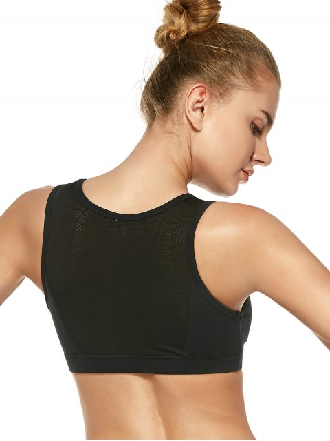 women Mesh Panel High-Impact Sports Bra - BLACK L Mobile