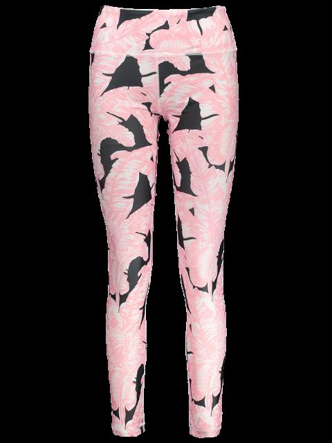 womens Tropical Leaf Print Sports Leggings - PINK M Mobile