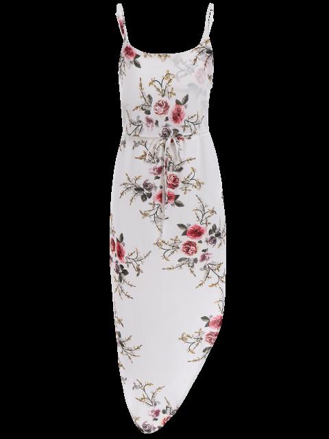 shop Slip Floral Drawstring Waist Asymmetric Holiday Dress - WHITE XL Mobile