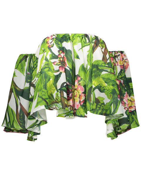 latest Tropical Print Off Shoulder Butterfly Sleeve Top - GREEN ONE SIZE Mobile