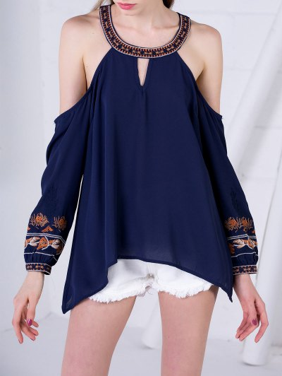 Embroidered Cold Shoulder Blouse - Purplish Blue