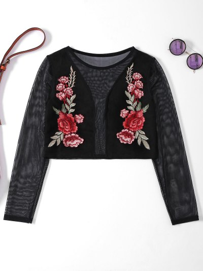 Sheer Mesh Floral Embroidered Crop Top - Black