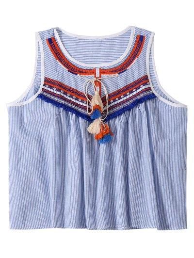 Embroidered Tassel Stripe Top - Light Blue