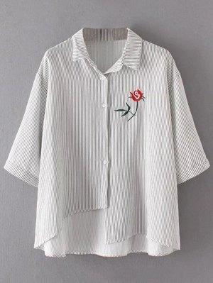 Stripes Asymmetrical Shirt - Gray